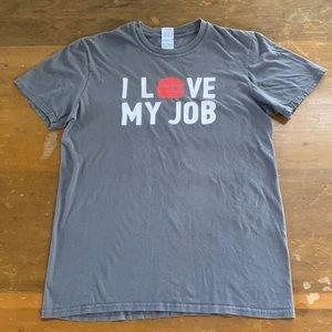 I Love My Job Mooyah Tshirt Burgers Fries Medium